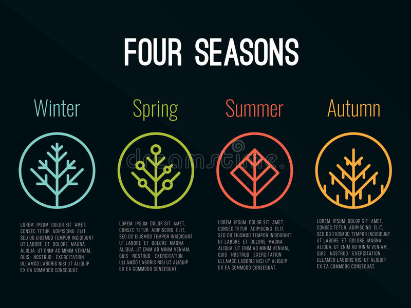 4 seasons tree icon sign in circle Winter Spring Summer and Autumn vector design royalty free illustration
