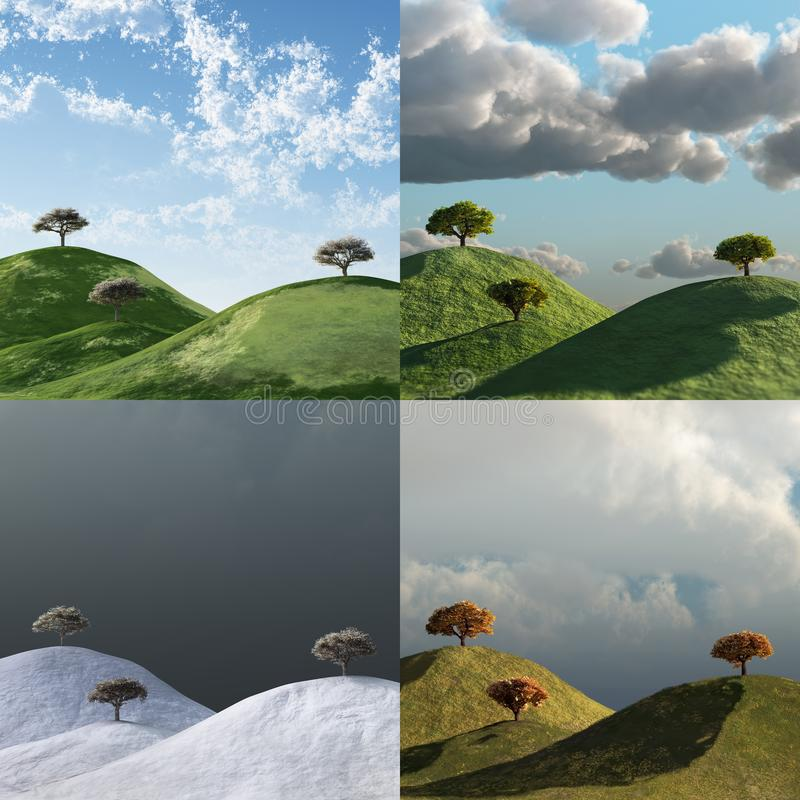 4 seasons, trees in a landscape vector illustration