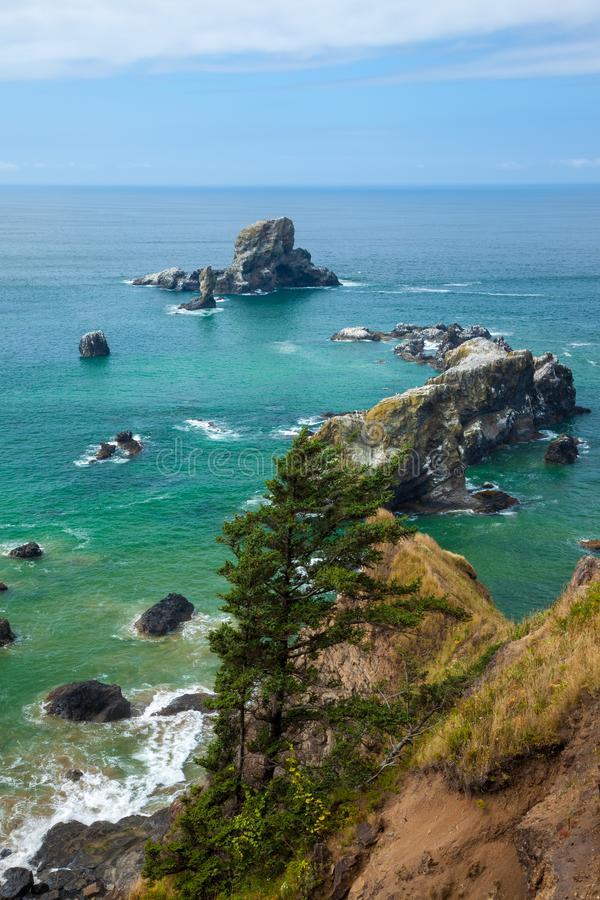 Seastacks fora da costa de Oregon perto da praia do canhão foto de stock royalty free