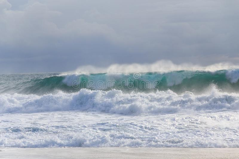 Seastorm with beautiful waves royalty free stock photography