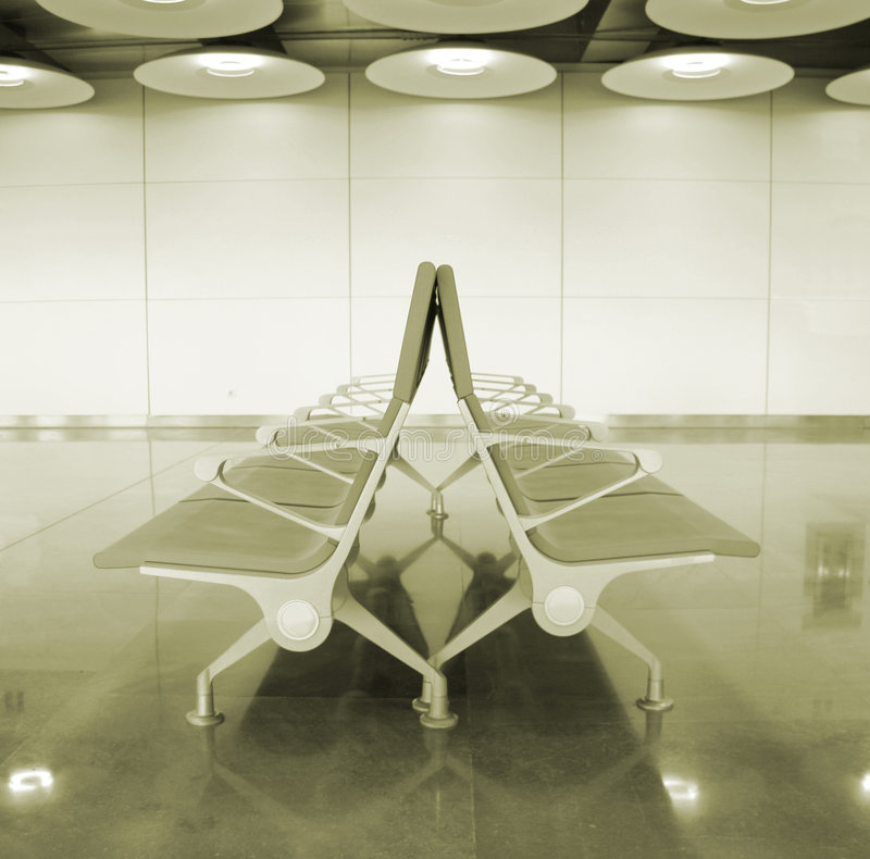 Seat. Passenger waiting lounge in airport in Madrid, Spain royalty free stock photography