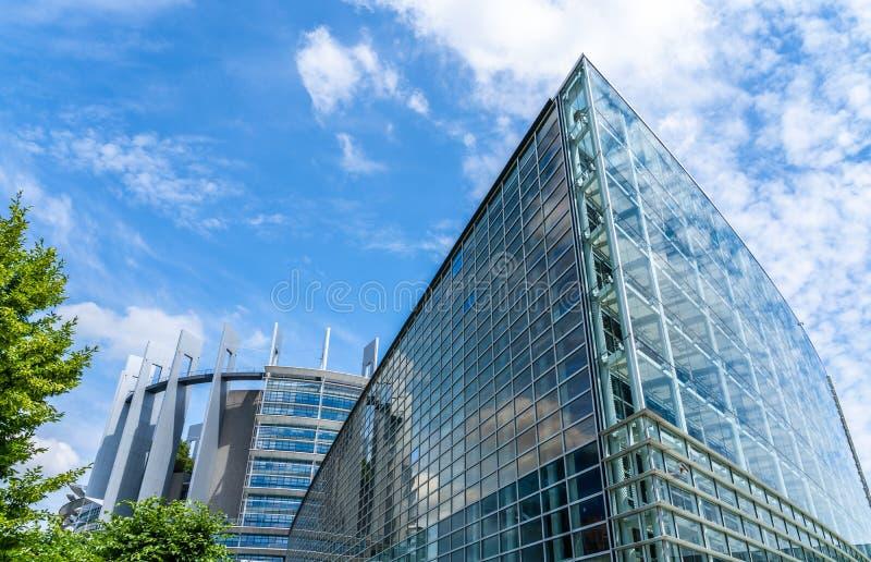 Seat av Europaparlamentet i Strasbourg, Frankrike royaltyfria bilder