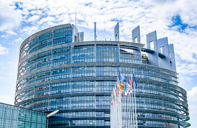 Seat av Europaparlamentet i Strasbourg, Frankrike arkivbilder