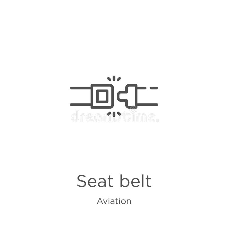 Seat belt icon vector from aviation collection. Thin line seat belt outline icon vector illustration. Outline, thin line seat belt. Seat belt icon. Element of royalty free illustration