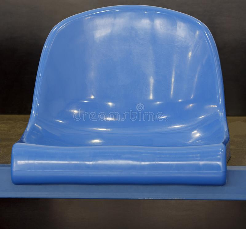 Seat from blue plastic stock images