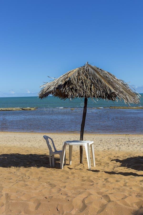 Seat e sikt på stranden royaltyfria foton