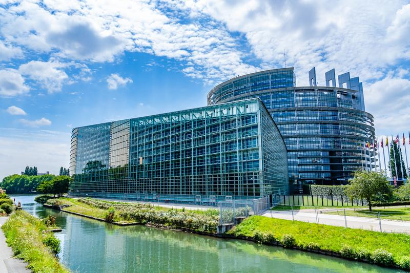Seat of the European Parliament in Strasbourg, France. Strasbourg, France - June 24, 2018: Main building Louise Weiss of the seat of the European Parliament, in royalty free stock images