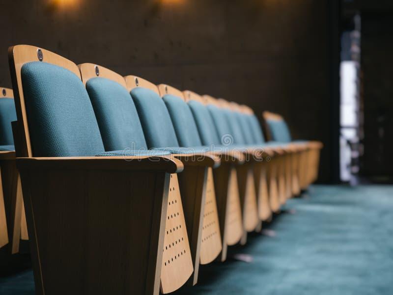 Seat Front Row no conceito do negócio do auditório imagens de stock