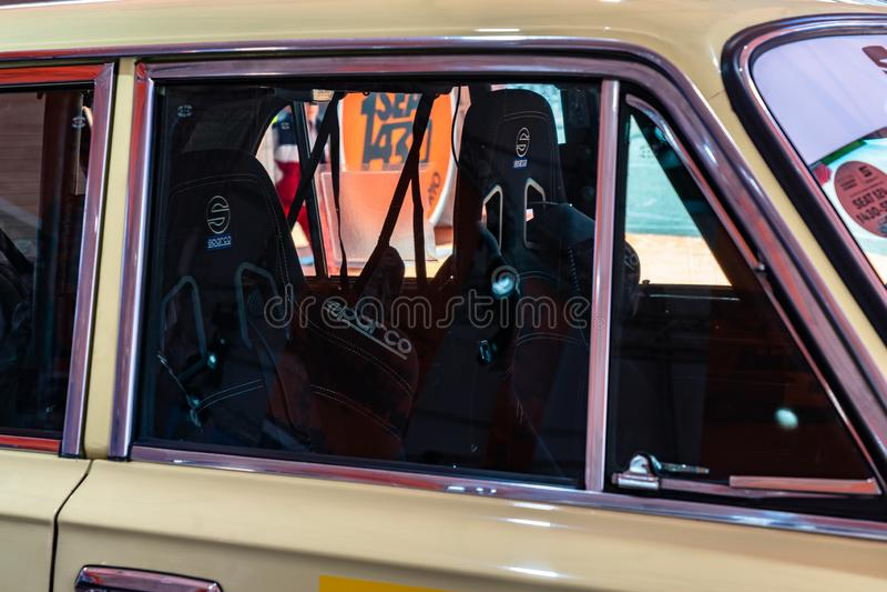 SEAT 1430 FU Abarth in der montjuic Geist Barcelona-Stromkreisautoshow stockfotos