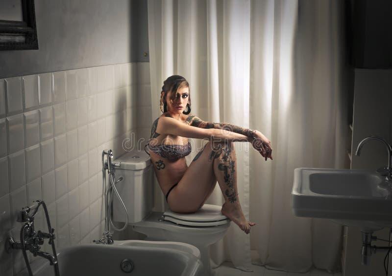 Seat i badet arkivfoton