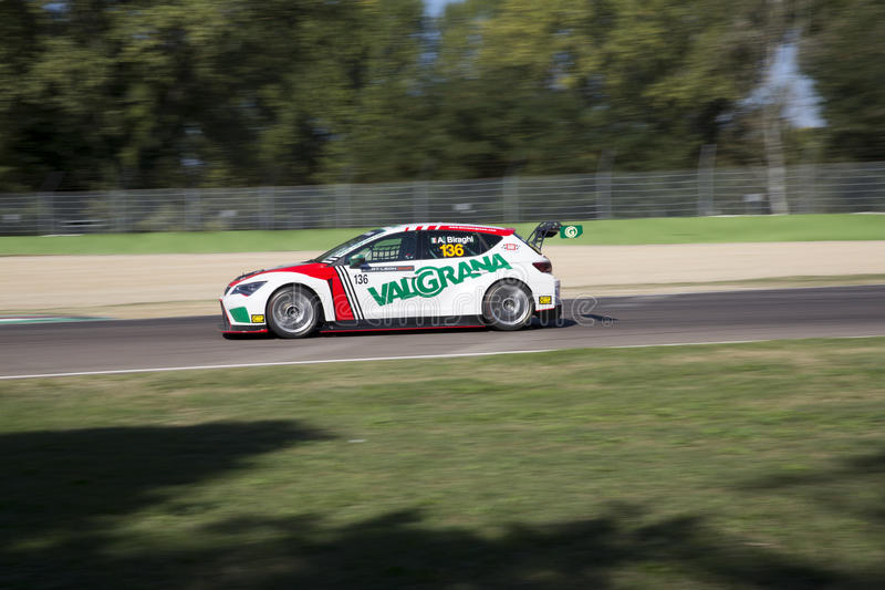 Seat Leon Cup. Imola, Italy - September 25, 2016: A Seat Leon Cup Racer of Brc Team, driven by Biraghi Alberto, the Seat Leon Cup in Autodromo Enzo & Dino royalty free stock photo