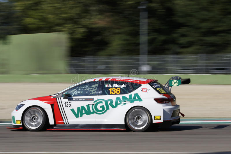 Seat Leon Cup. Imola, Italy - September 25, 2016: A Seat Leon Cup Racer of Brc Team, driven by Biraghi Alberto, the Seat Leon Cup in Autodromo Enzo & Dino royalty free stock photos