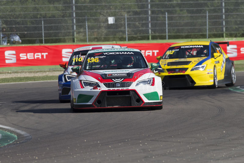 Seat Leon Cup. Imola, Italy - September 25, 2016: A Seat Leon Cup Racer of Brc Team, driven by Biraghi Alberto, the Seat Leon Cup in Autodromo Enzo & Dino stock image