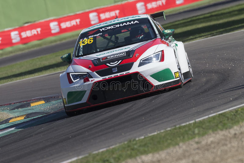 Seat Leon Cup. Imola, Italy - September 25, 2016: A Seat Leon Cup Racer of Brc Team, driven by Biraghi Alberto, the Seat Leon Cup in Autodromo Enzo & Dino royalty free stock images