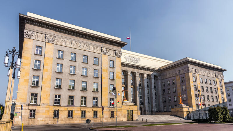Seat of the local authorities. Of Silesia Voivodship in an old edifice built in the style of modernism on March 21, 2015 in Katowice, Poland. At the opening in stock photos