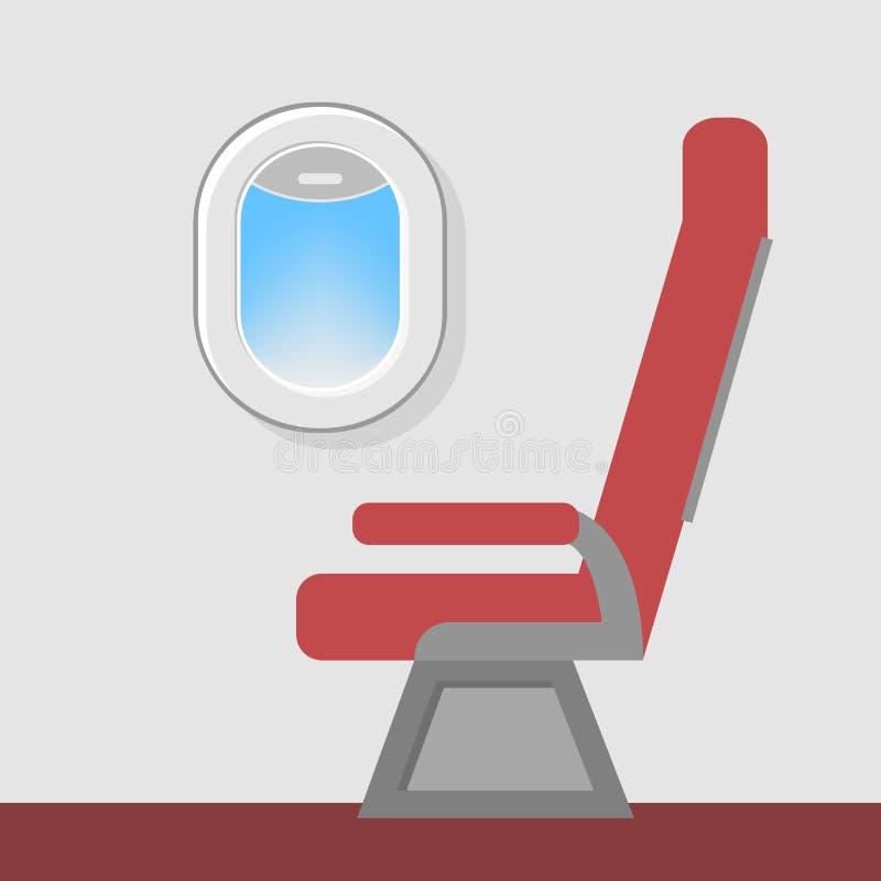 Seat på flygplanfönstret stock illustrationer