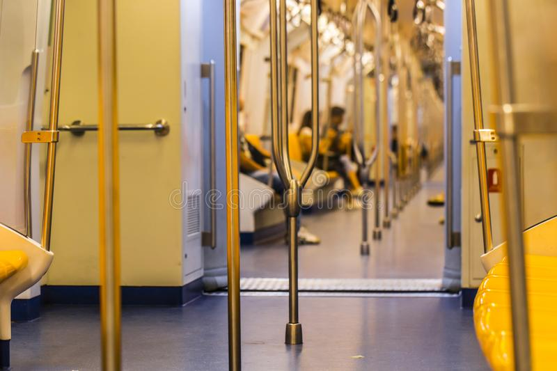 Rail in the sky train. Seat and rail in the sky train royalty free stock photos