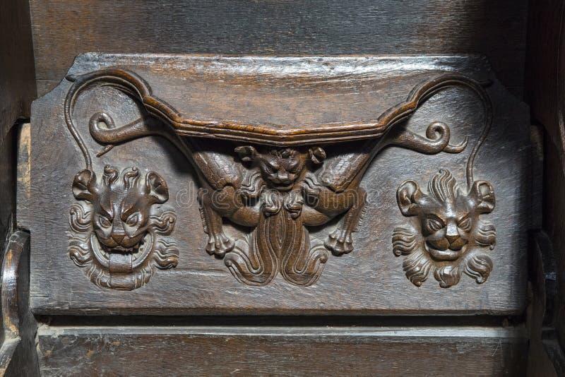 Seat tallado de madera en Chester Cathedral foto de archivo