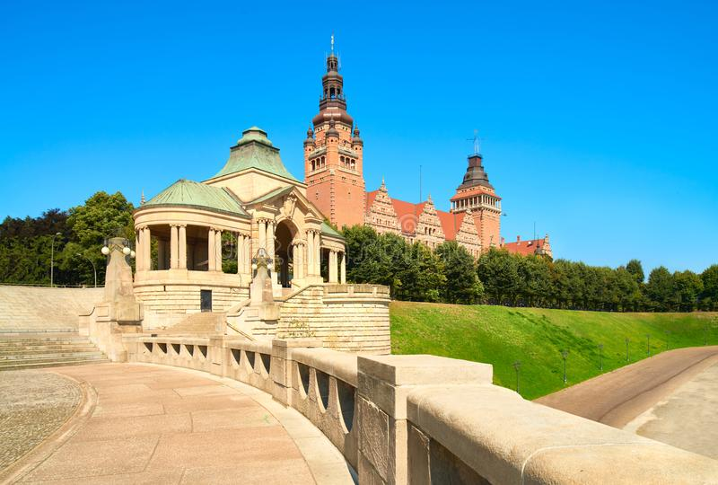 The Chrobry Embankment, Szczecin in Poland. Seat of voivodship authorities at The Chrobry Embankment Waly Chrobrego. This place is in the Old Town in Szczecin royalty free stock image