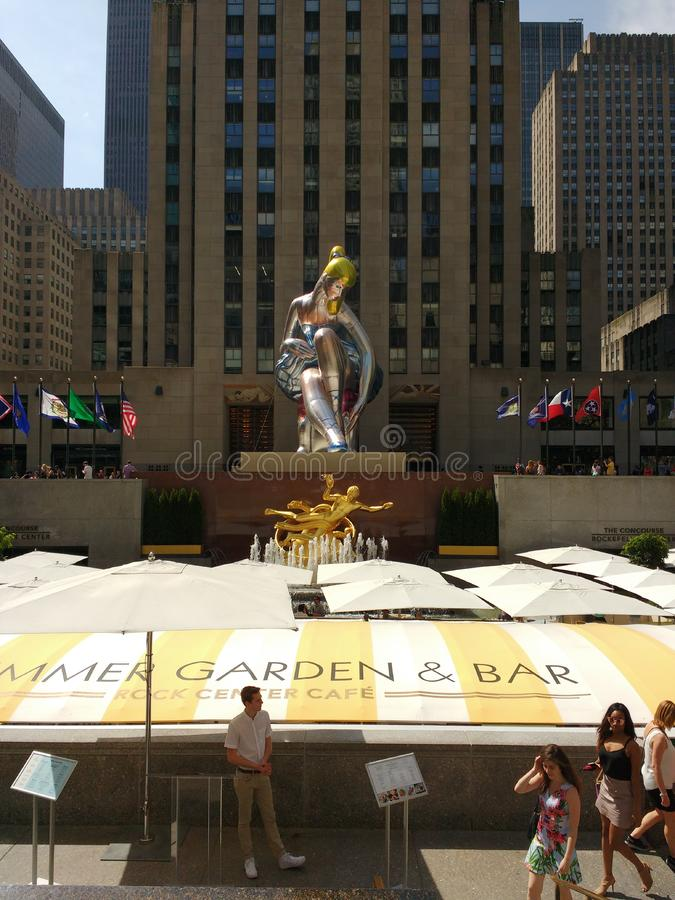 Seated Ballerina by Jeff Koons, Rockefeller Center, New York City, NYC, NY, USA. `Seated Ballerina` by Jeff Koons, on display from May 12th to July 17th 2017 royalty free stock photography