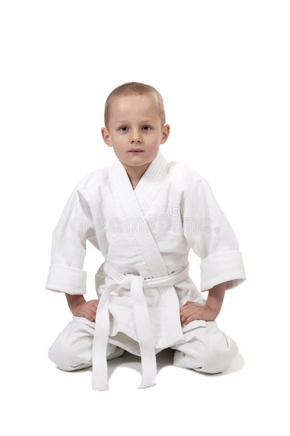 Seated Boy In Judo Kimono, Royalty Free Stock Image