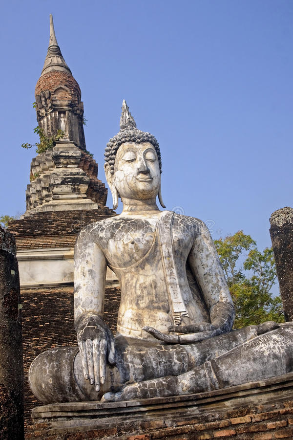 Seated buddha statue in Sukhothai royalty free stock images