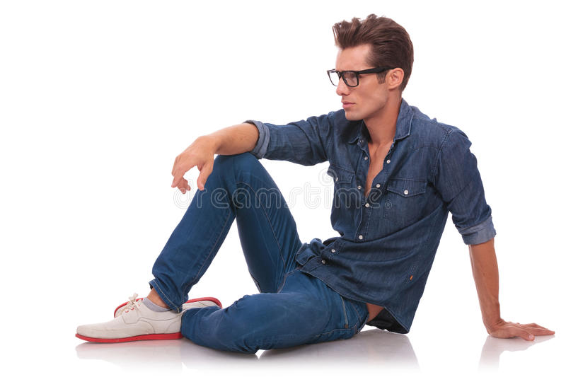 Download Seated Man Looks Away Royalty Free Stock Photography - Image: 29636577