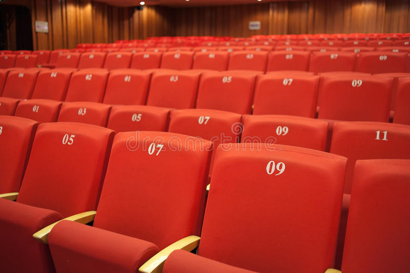 Seating. Red seating in the theatre stock photo