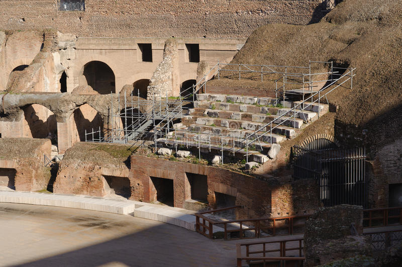Seating at colosseum. Image of seating at colosseum. Colosseum(Colosseo) is the largest amphitheatre in the world. It is locasted in the centre of Rome, Italy stock image