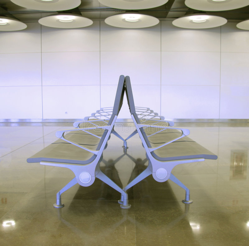 Seats. Passenger waiting lounge in airport, madrid, spain royalty free stock photos