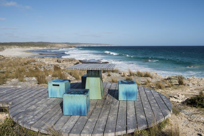 Seats on deck at the beach, Kangaroo Island, Australia royalty free stock photography