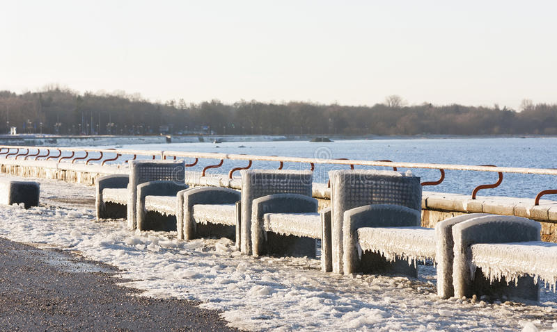 Seats covered with thich ice stock photo