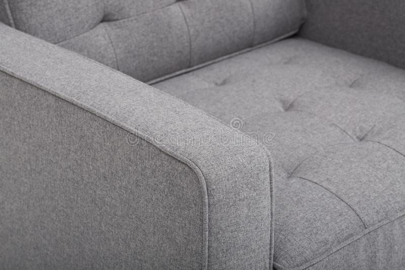 Seats cozy leather sofa, 2 seater modern sofa in light grey fabric, 2-Seat Sofa, Feather Cushion Sofa, - Image stock photos