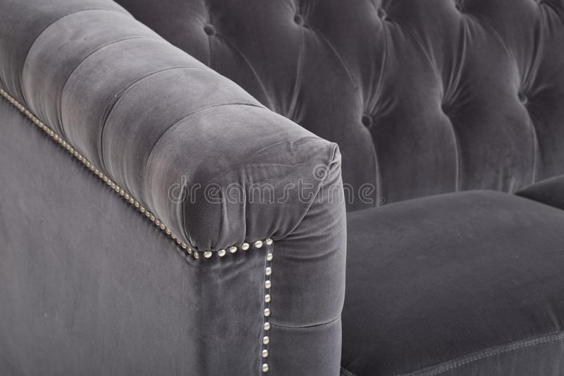 Seats cozy leather sofa, 2 seater modern sofa in light grey fabric, 2-Seat Sofa, Feather Cushion Sofa, - Image stock photography