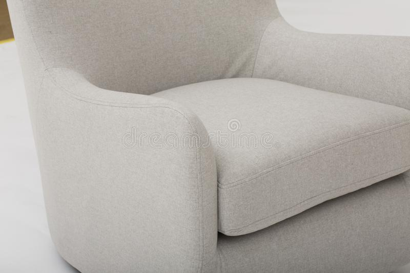 Seats cozy leather sofa, 2 seater modern sofa in light grey fabric, 2-Seat Sofa, Feather Cushion Sofa, - Image.  stock images