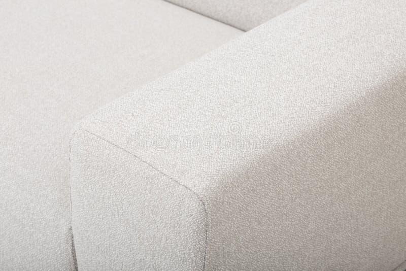 Seats cozy leather sofa, 2 seater modern sofa in light grey fabric, 2-Seat Sofa, Feather Cushion Sofa, - Image.  royalty free stock photography