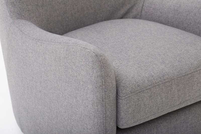 Seats cozy leather sofa, 2 seater modern sofa in light grey fabric, 2-Seat Sofa, Feather Cushion Sofa, - Image. N royalty free stock photo