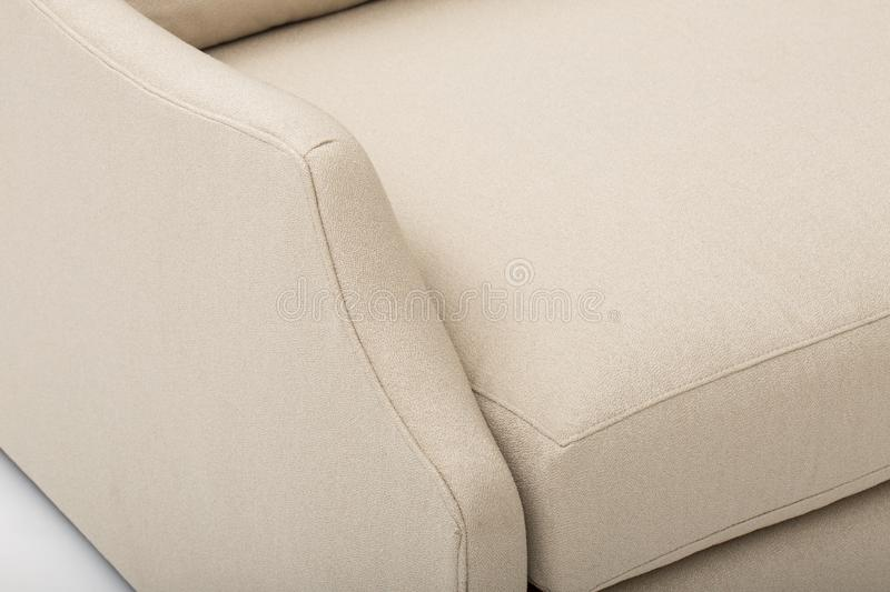 Seats cozy leather sofa, 2 seater modern sofa in light grey fabric, 2-Seat Sofa, Feather Cushion Sofa, - Image. N royalty free stock photography