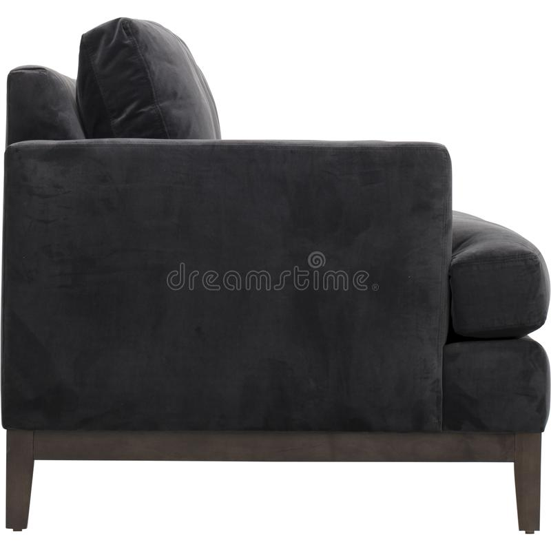 Seats cozy leather sofa, 2 seater modern sofa in light grey fabric, 2-Seat Sofa, Feather Cushion Sofa, royalty free stock photography