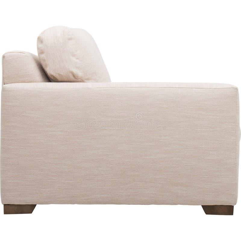 Seats cozy leather sofa, 2 seater modern sofa in light grey fabric, 2-Seat Sofa, Feather Cushion Sofa,.  royalty free stock photo
