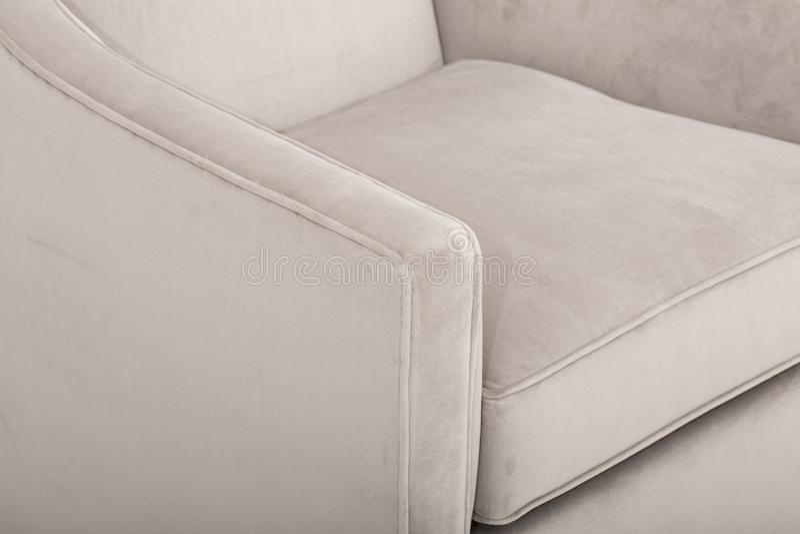Seats cozy leather sofa, 2 seater modern sofa in light grey fabric, 2-Seat Sofa, Feather Cushion Sofa,.  royalty free stock photos