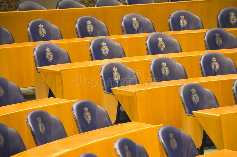 Seats in the Dutch Parliament stock images