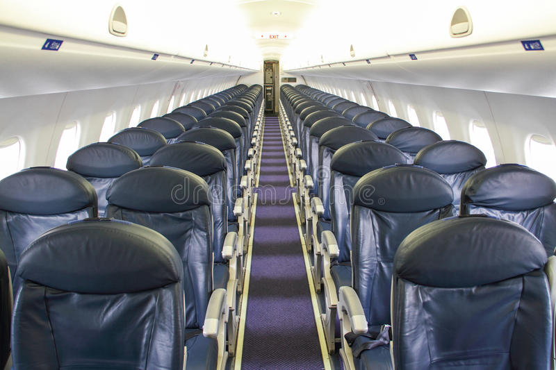 Seats in a Empty Airplane stock image
