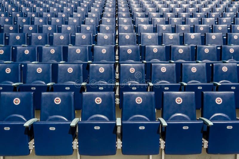 Seats of Fenerbahce Sukru Saracoglu Stadium in Istanbul, Turkey. ISTANBUL – CIRCA APRIL 2012 : Seats of Fenerbahce Sukru Saracoglu Stadium circa April royalty free stock photography