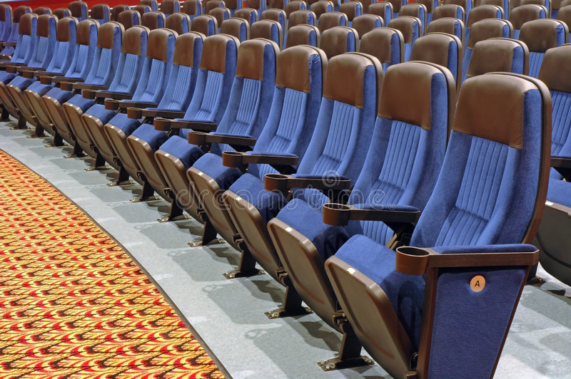 Seats in Front Row Section. Auditorium Seats in From Rows royalty free stock photos