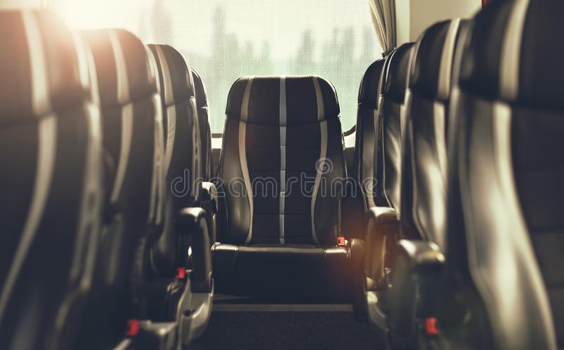 Seats of intercity bus. Seats of intercity coach bus in closeup in bokeh effect stock images