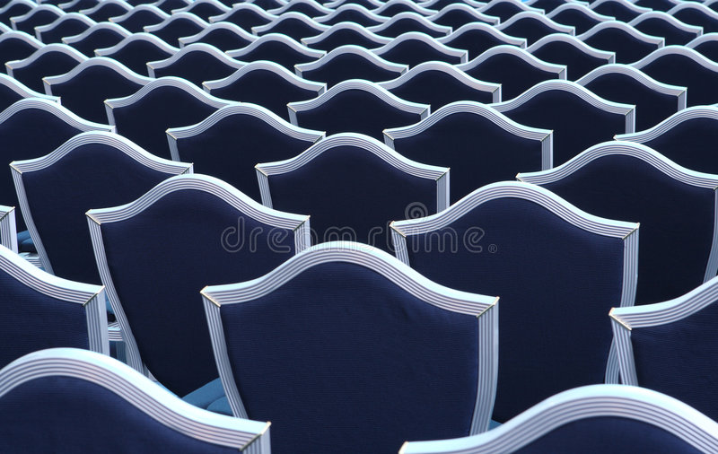 Seats in lecture hall stock image