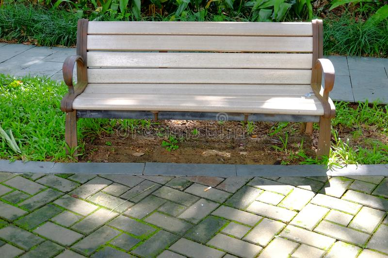 Park seats. Seats in the public environment are places where designers can use their brains. Park seats are always functional and ornamental, and all sorts of royalty free stock images