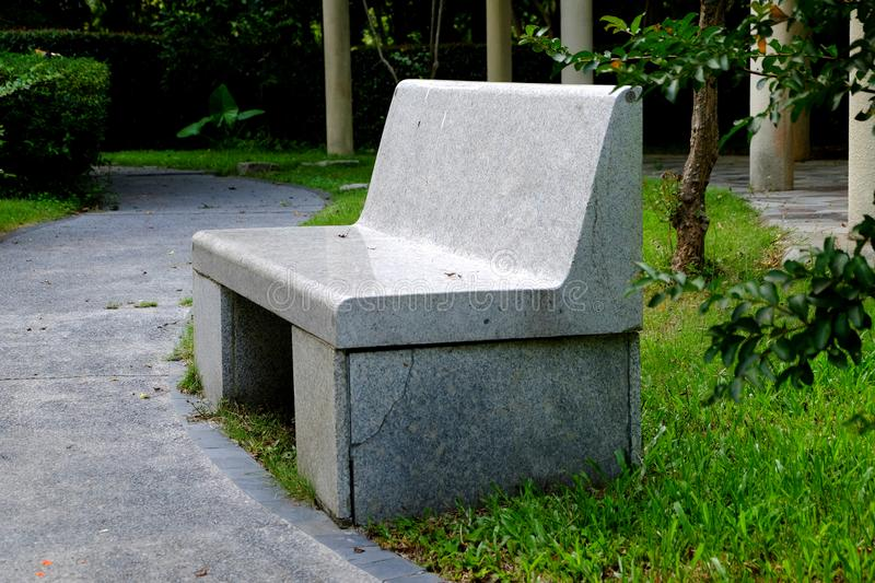 Park seats. Seats in the public environment are places where designers can use their brains. Park seats are always functional and ornamental, and all sorts of royalty free stock photography