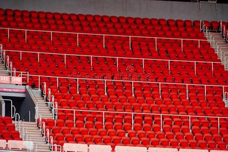 Seats in the stadium. Are arranged in rows stock photos